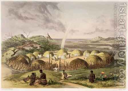 Zulu Kraal near Umlazi, Natal by (after) Angas, George French - Reproduction Oil Painting
