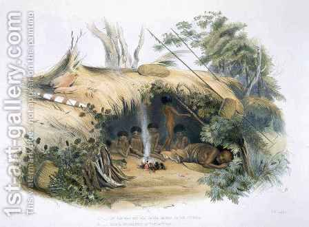 The Aboriginal Inhabitants, II. Native Encampment at Portland Bay, 'Cold Morning' and his family by (after) Angas, George French - Reproduction Oil Painting