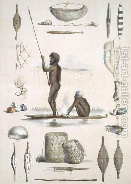 The Aboriginal Inhabitants from 'South Australia Illustrated' by (after) Angas, George French - Reproduction Oil Painting