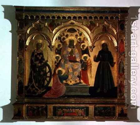 The Madonna of the Girdle with Saints and Angels by Giusto Manzini Andrea di - Reproduction Oil Painting