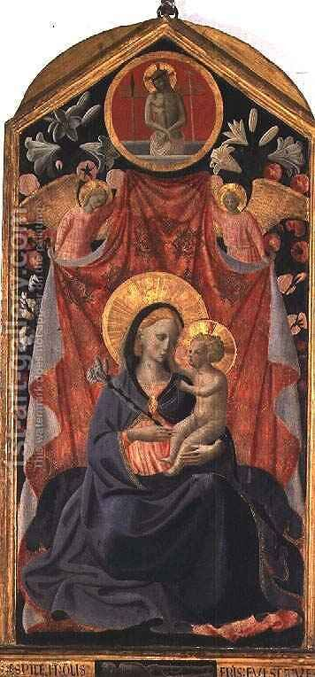 Madonna and Child with Two Angels and Christ risen from the Tomb by Giusto Manzini Andrea di - Reproduction Oil Painting