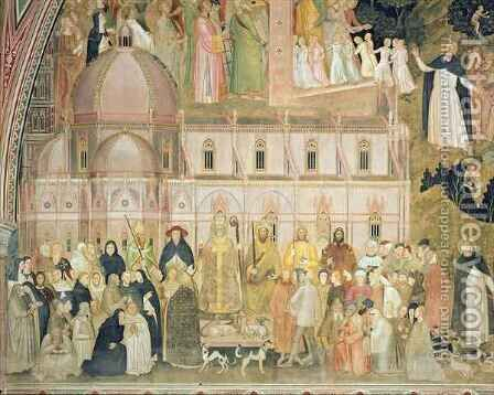 The Church Militant and Triumphant, detail of the secular authorities with Santa Maria del Fiore in the background, from the Spanish Chapel by Bonaiuto (Andrea da Firenze) Andrea di - Reproduction Oil Painting
