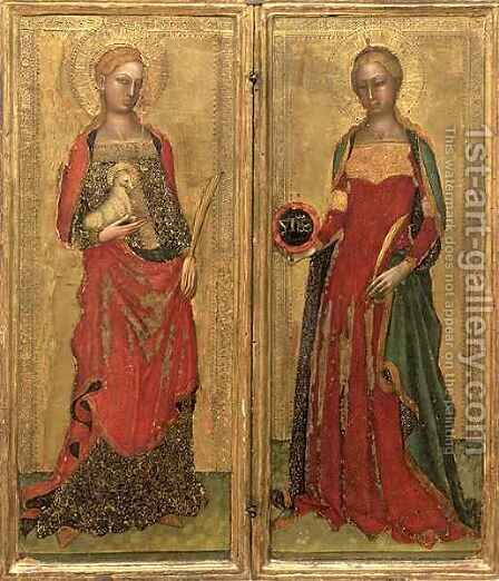 St. Agnes and St. Domitilla by Bonaiuto (Andrea da Firenze) Andrea di - Reproduction Oil Painting
