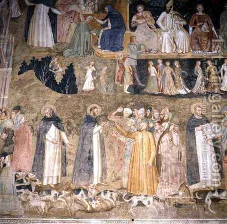 St. Dominic Sending Forth the Hounds of the Lord, with St. Peter Martyr and St. Thomas Aquinas by Bonaiuto (Andrea da Firenze) Andrea di - Reproduction Oil Painting