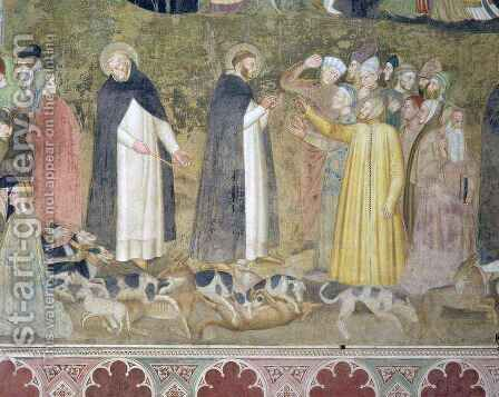 St. Dominic Sending Forth the Hounds and St. Peter Martyr Casting Down the Heretics, from the Spanish Chapel by Bonaiuto (Andrea da Firenze) Andrea di - Reproduction Oil Painting