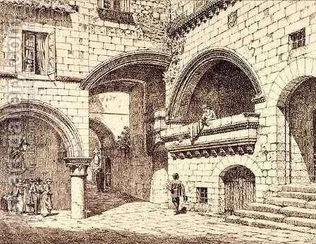 Part of the Piazza San Pellegrino, Viterbo, Italy, from 'Examples of the Municipal, Commercial, and Street Architecture of France and Italy from the 12th to the 15th Century by (after) Anderson, R. - Reproduction Oil Painting