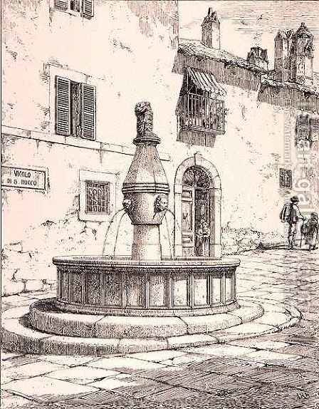 Fountain of the Vicolo di S. Rocco, Viterbo, Italy, from 'Examples of the Municipal, Commercial, and Street Architecture of France and Italy from the 12th to the 15th Century', publ. by W.Mackenzie, 1841 (engraving) Image ID: by (after) Anderson, R. - Reproduction Oil Painting