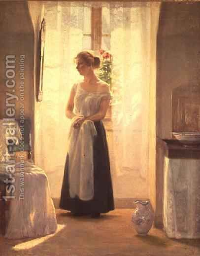 Interior with a Girl standing in front of a Mirror by Cilius Anderson - Reproduction Oil Painting