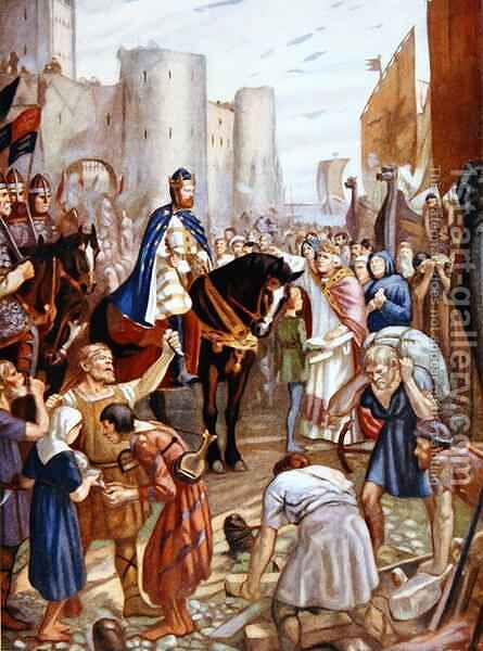 William Rufus (1056-1100) at the Tower of London, illustration from 'Hutchinson's Story of the British Nation' by (after) Anderson, Charles Goldsborough - Reproduction Oil Painting