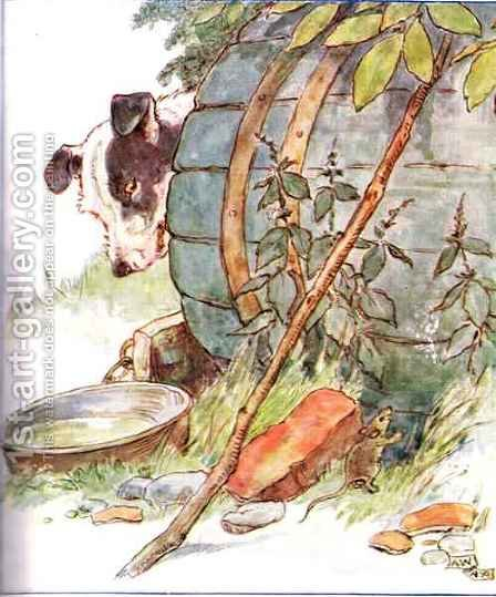 'One day I scratched the side of old Nipper's Kennel', illustration from 'The Mischievious Mousie Book' by Anne Anderson - Reproduction Oil Painting