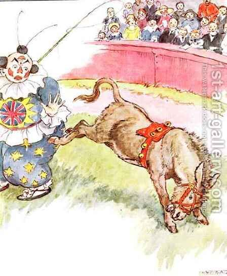 'The clown was so silly today - I kicked him quite hard', illustration from 'The Naughty Neddy Book' by Anne Anderson - Reproduction Oil Painting