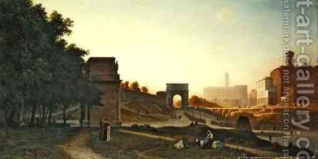 The Forum at sunset by Auguste-Paul-Charles Anastasi - Reproduction Oil Painting
