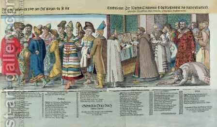 The Great Embassy of Ivan IV (1530-84) of Russia to the Holy Roman Emperor at Regensburg in 1576 by (after) Jost Amman - Reproduction Oil Painting