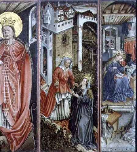 Visitation, centre right panel of polyptych by (after) Jost Amman - Reproduction Oil Painting