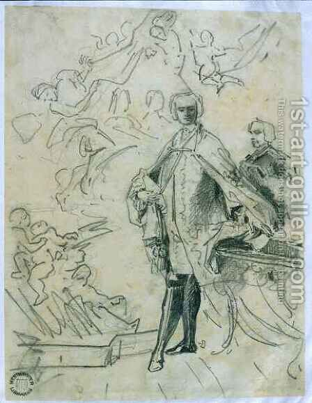 Sketch of Carlo Broschi 'il Farinelli' (1705-82) by Jacopo (Giacomo) Amigoni - Reproduction Oil Painting