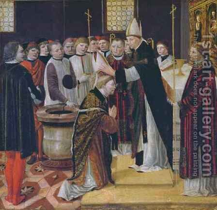 Ordination of St. Augustine by Ambrogio da Fossano (Il Bergognone) - Reproduction Oil Painting