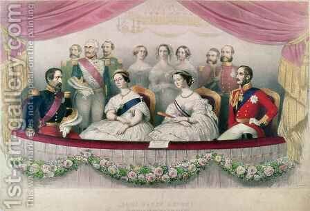 Hail Happy Union, the State visit to the Royal Italian Opera by Queen Victoria, Prince Albert and the Emperor and the Empress of France by (after) Alophe, Marie Alexandre - Reproduction Oil Painting