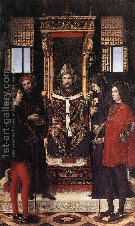 St Ambrose With Saints by Ambrogio Borgognone - Reproduction Oil Painting
