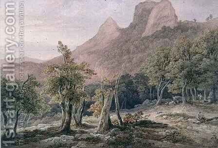 Rocky Landscape with figures and a lake in the background by Henry Curzon Allport - Reproduction Oil Painting