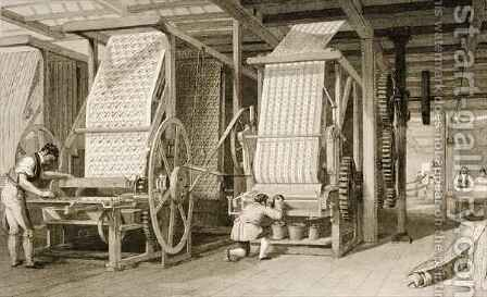 Calico printing in a cotton mill by (after) Thomas Allom - Reproduction Oil Painting