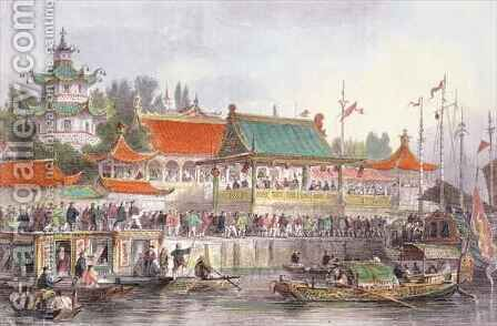 Theatre at Tien-Sing, from 'China in a Series of Views' by (after) Thomas Allom - Reproduction Oil Painting