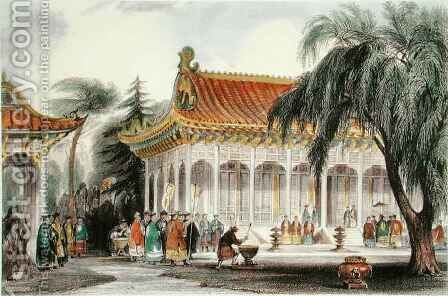 The Hall of Audience at the Palace of Yuen-ming-Yuan, Peking by (after) Thomas Allom - Reproduction Oil Painting
