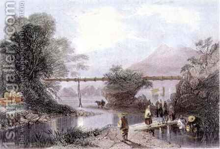 Bamboo Aqueduct at Hong Kong by (after) Thomas Allom - Reproduction Oil Painting