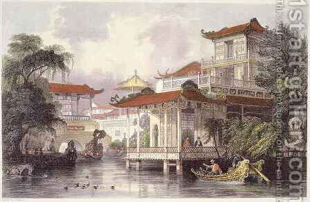 Home of a Chinese Merchant near Canton, from 'China in a Series of Views' by (after) Thomas Allom - Reproduction Oil Painting