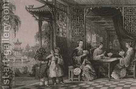 Ladies of a Mandarin's Family at Cards, from 'China in a Series of Views' by (after) Thomas Allom - Reproduction Oil Painting