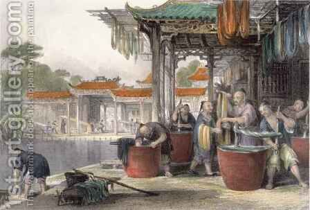Dyeing and Winding Silk, from 'China in a Series of Views' by (after) Thomas Allom - Reproduction Oil Painting