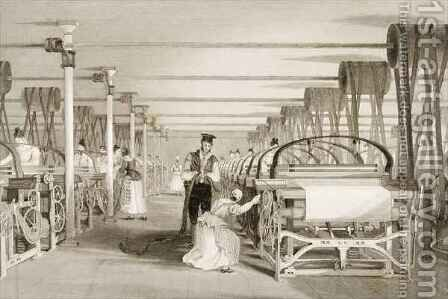 Weaving on Power Looms, Cotton factory floor by (after) Thomas Allom - Reproduction Oil Painting