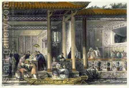 Arrival of Marriage Presents at the Bridal Residence, from 'China in a Series of Views' by (after) Thomas Allom - Reproduction Oil Painting