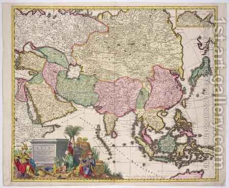 Map of Asia, Tartaria, Japan, the Philippines and the East Indies by (after) Allard, Karel - Reproduction Oil Painting