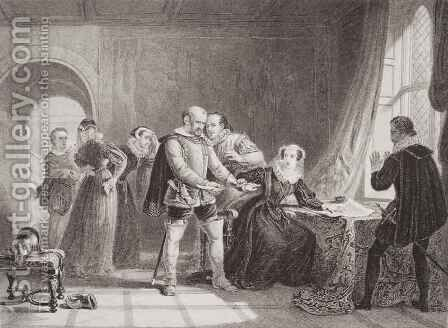 Mary Queen of Scots (1542-87) compelled to sign her abdication in Lochleven Castle in 1567 by (after) Sir William Allan - Reproduction Oil Painting