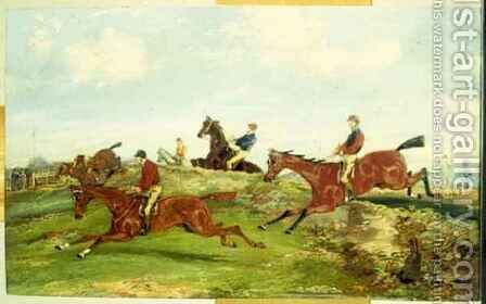 Point to Point Racing by Henry Thomas Alken - Reproduction Oil Painting