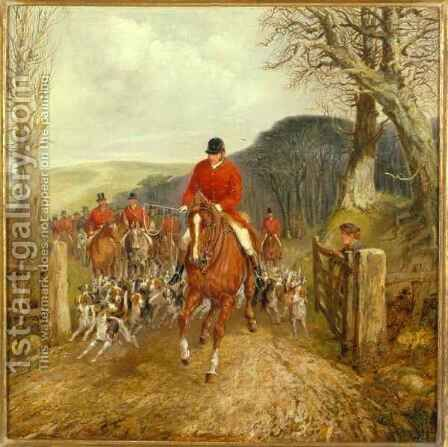 A Hunt Going Through A Gate by Henry Thomas Alken - Reproduction Oil Painting