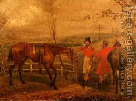 Huntsmen Smoking by a Fence by Henry Thomas Alken - Reproduction Oil Painting