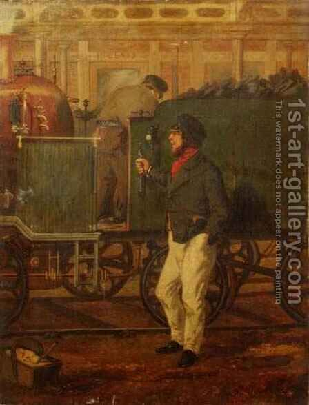 An Engine Driver by an Engine by Henry Thomas Alken - Reproduction Oil Painting