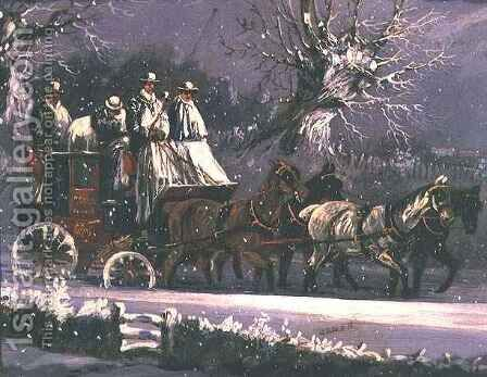 London to Dover coach in the snow by Henry Thomas Alken - Reproduction Oil Painting