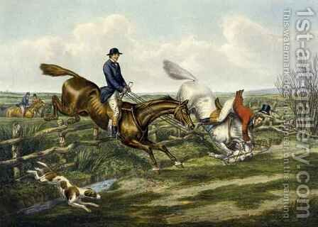 Falling Off, plate from 'The Right and The Wrong Sort', in Fores Hunting Sketches by (after) Henry Alken - Reproduction Oil Painting
