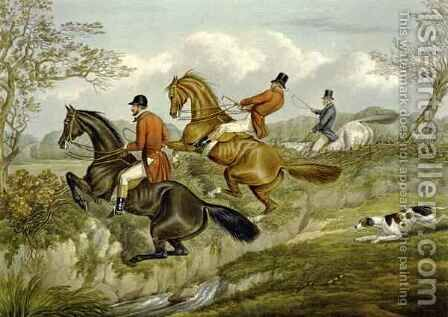 Scrambling Over a Hedge, plate from 'The Right and The Wrong Sort' by (after) Henry Alken - Reproduction Oil Painting