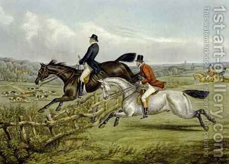 Jumping, plate from 'The Right and The Wrong Sort' by (after) Henry Alken - Reproduction Oil Painting
