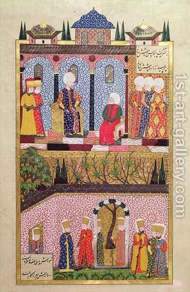 The presentation of gifts to Suleyman I (1495-1566) on the occasion of the circumcision of his sons Bayezid and Cihangir in 1530 by Beg Ali Amir - Reproduction Oil Painting