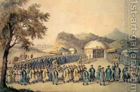 The Approach of the Emperor of China to his tent in Tartary to receive the British Ambassador, George by (after) Alexander, William - Reproduction Oil Painting
