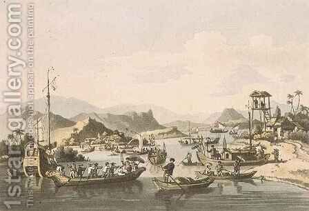 Cochin-Chinese Shipping on the River Taifo, plate 15 from 'A Voyage to Cochinchina' by (after) Alexander, William - Reproduction Oil Painting
