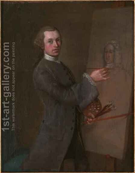 Self Portrait with a Portrait of Prince James Francis Edward Stuart by Cosmo Alexander - Reproduction Oil Painting