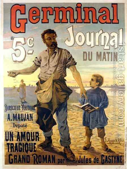 Poster advertising the newspaper 'Germinal' by Hugo d' Alesi - Reproduction Oil Painting