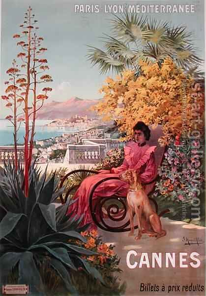 Travel poster advertising the Paris-Lyon-Mediterranee train line and holidays in Cannes by Hugo d' Alesi - Reproduction Oil Painting