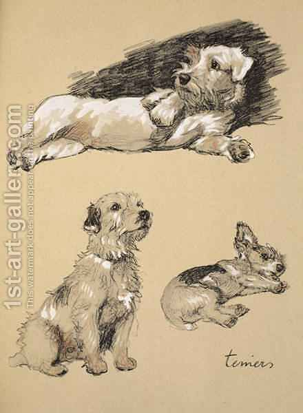 Terriers by Cecil Charles Aldin - Reproduction Oil Painting