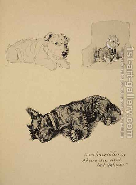 Wire-Haired Terrier, Aberdeen and West Highlander by Cecil Charles Aldin - Reproduction Oil Painting